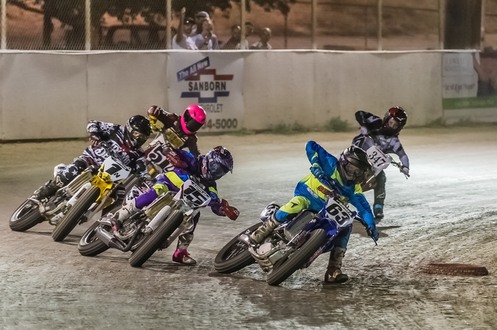 85cc racers at turn 3 Lodi Cycle Bowl Short Track 2016